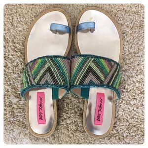 Betsey Johnson beaded flip flop sandals